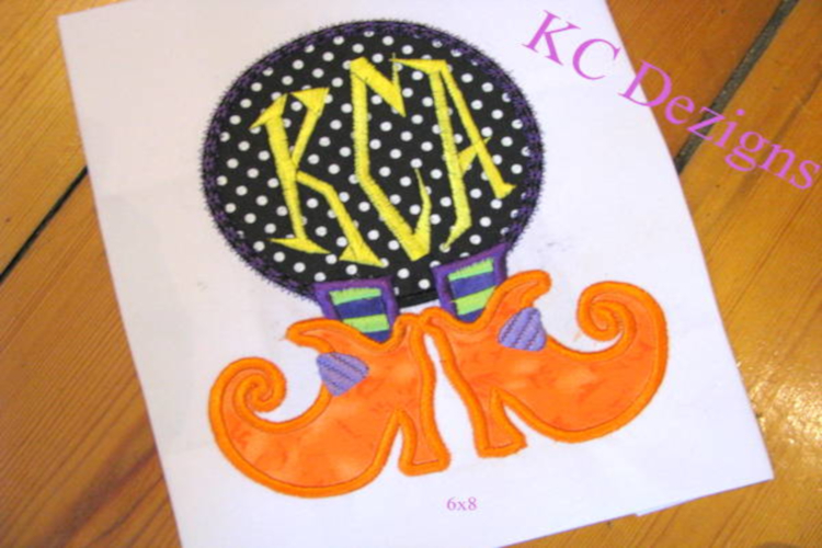 Witches Feet Monogram Machine Applique Embroidery Design example image 1