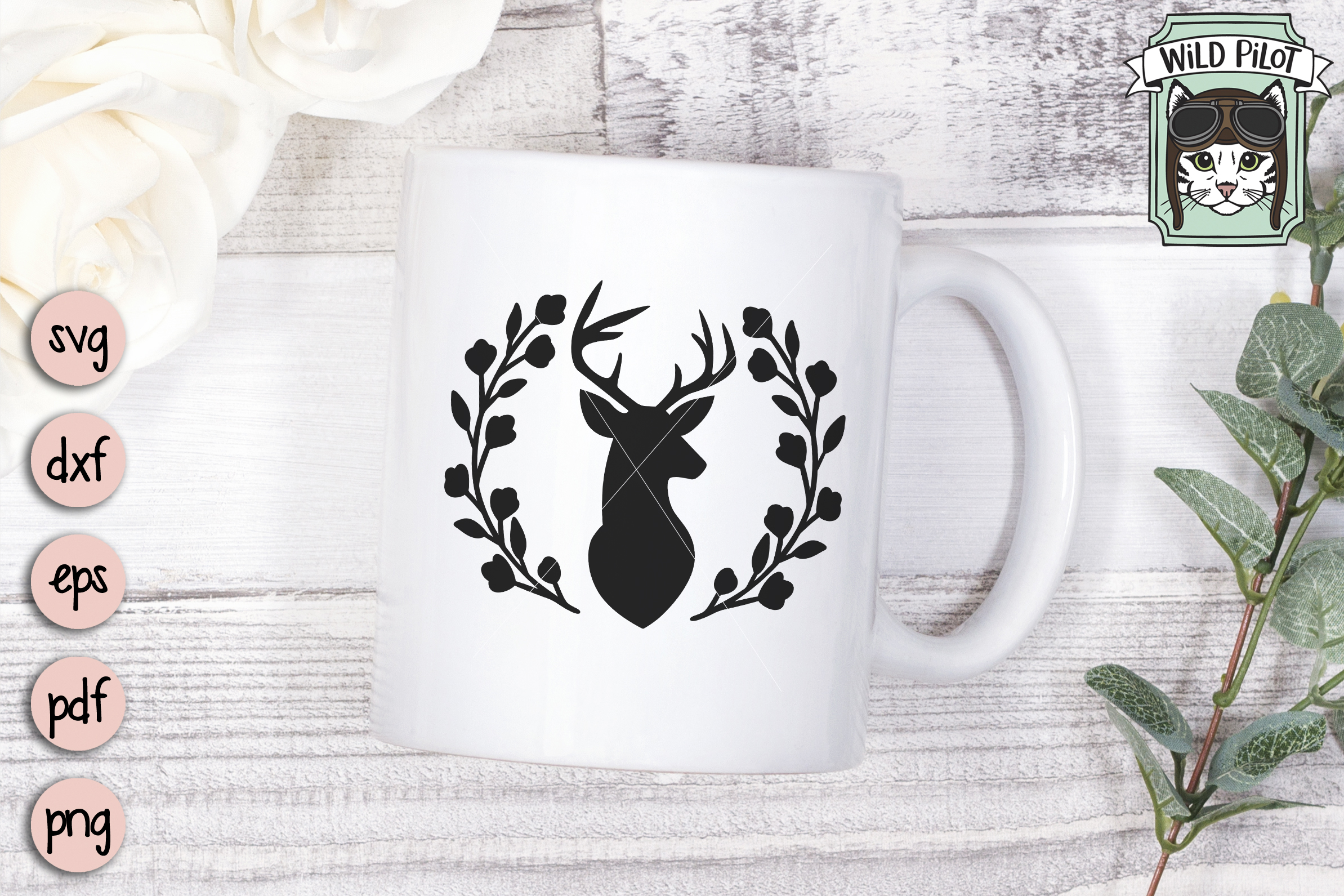 Deer Head SVG file, Deer Head cut file, Deer Silhouette example image 2