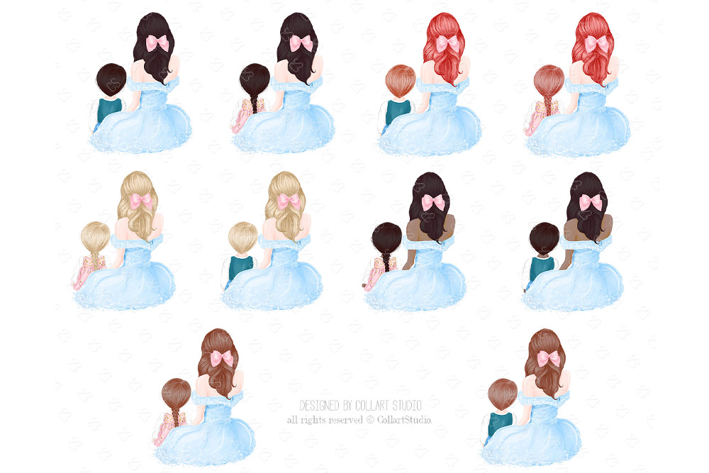 Mother's Day Clip Art, Mother Child Illustrations, Family example image 4