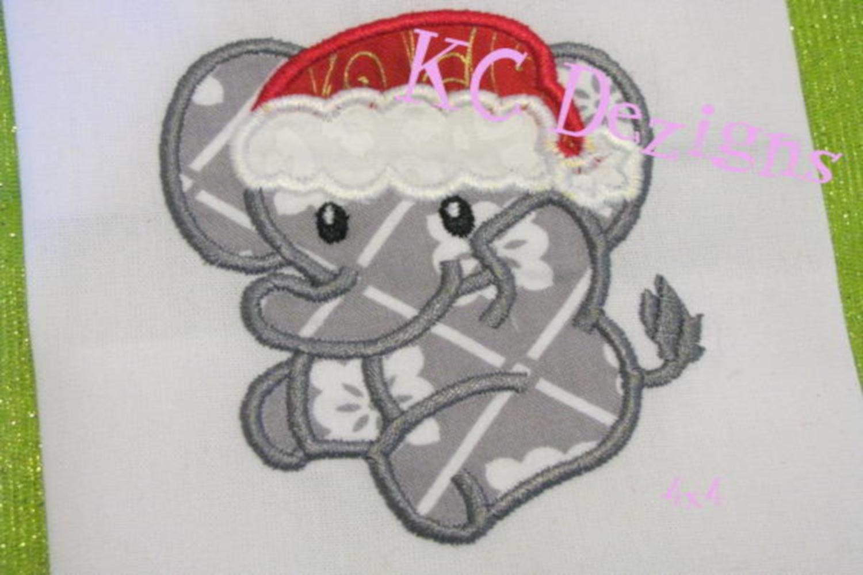 Christmas Baby Elephant Machine Applique Embroidery Design example image 3