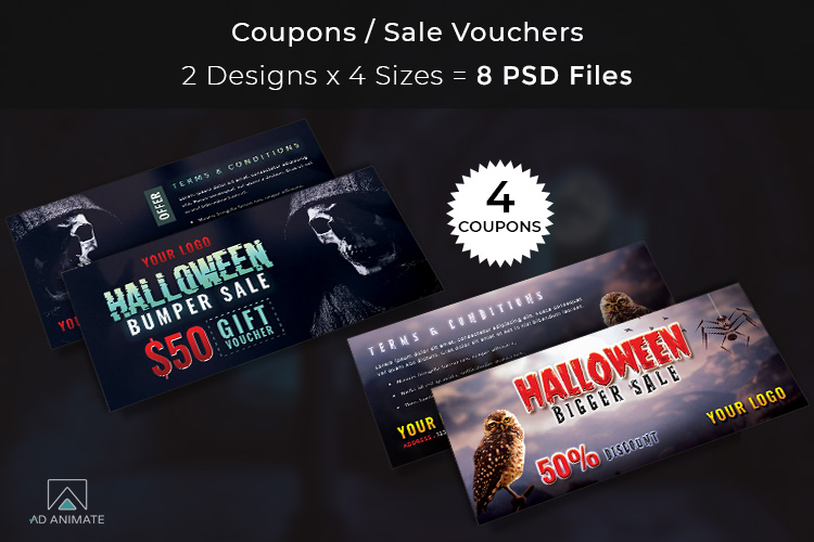 Halloween Big Bundle - flyers, banners, social media etc. example image 5