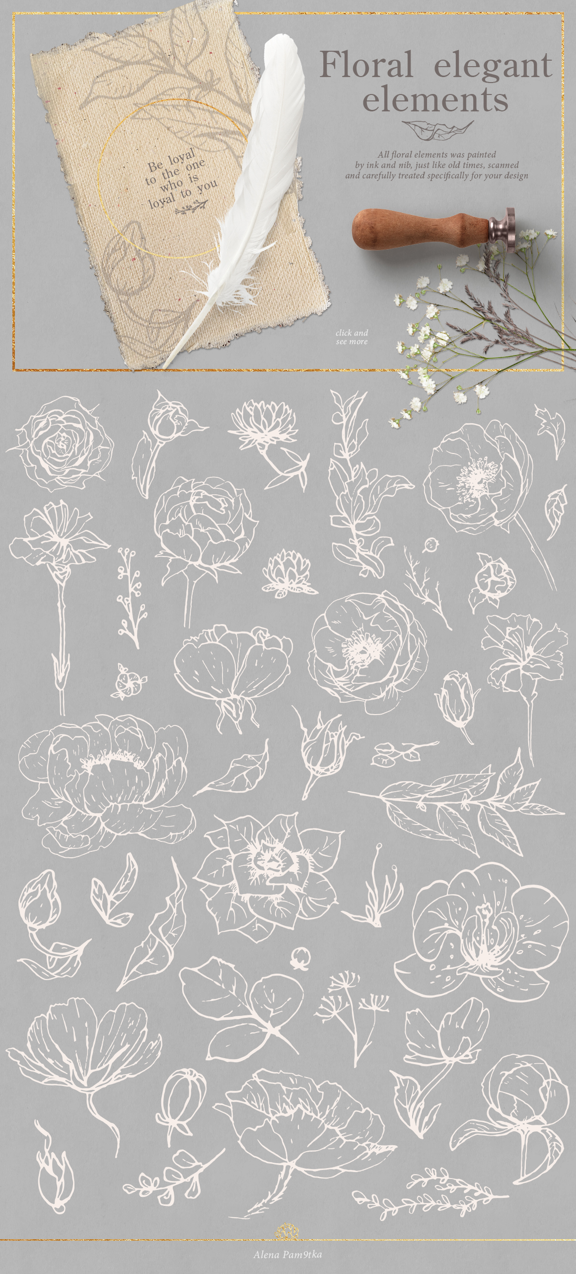 Flower outlines & patterns example image 6