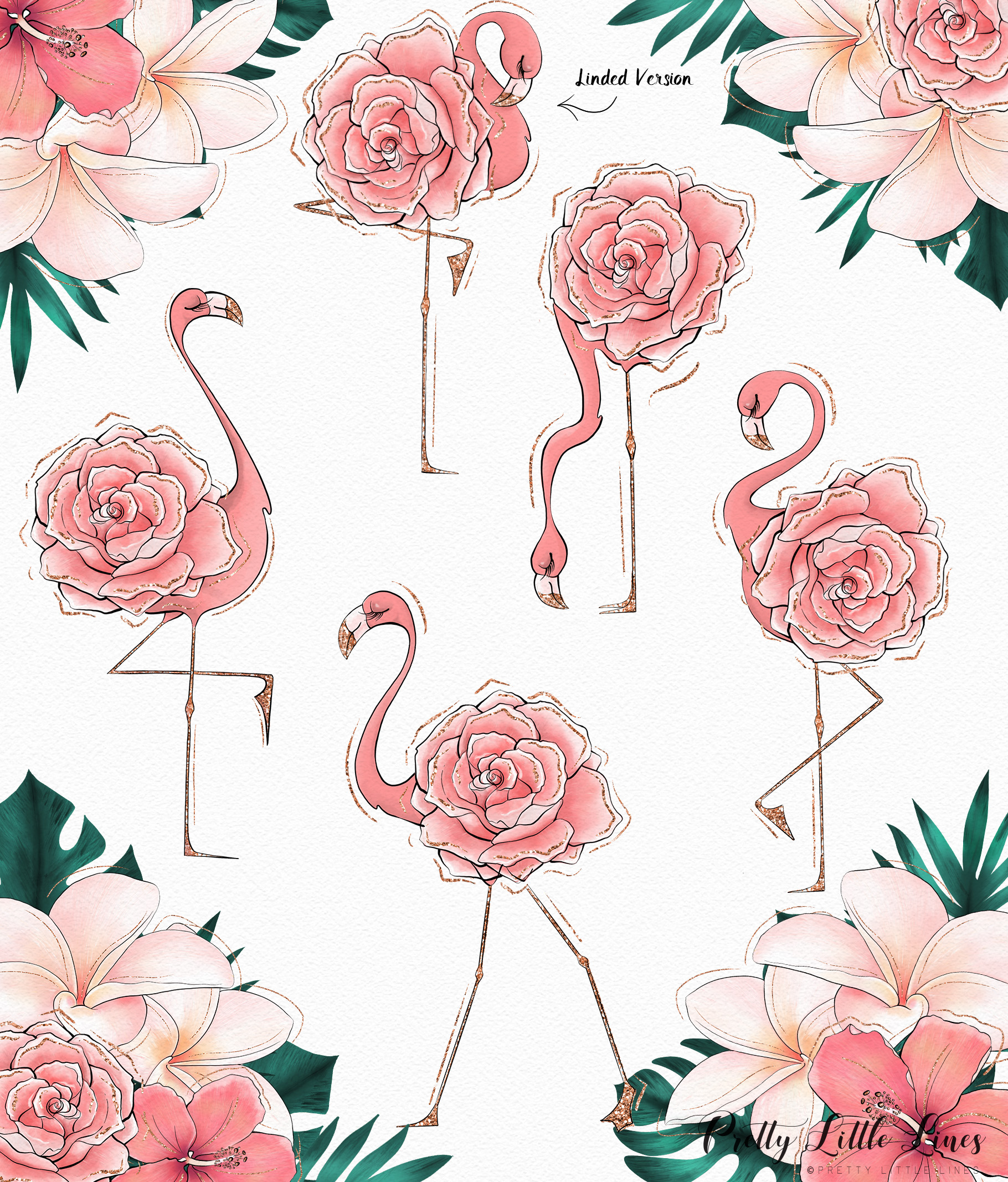 Tropical Flowers & Flamingos example image 6