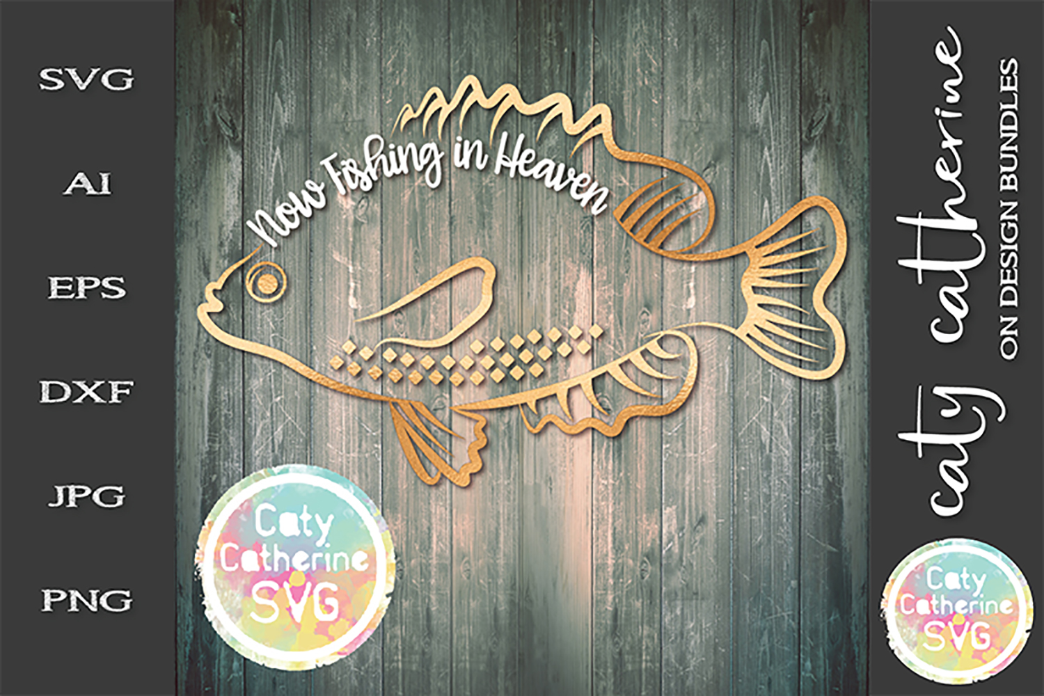 Now Fishing In Heaven Fisherman Remembrance SVG Cut File example image 1