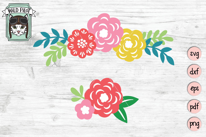 Flowers SVG file, Floral cut file, Flower Border, Stencil example image 1