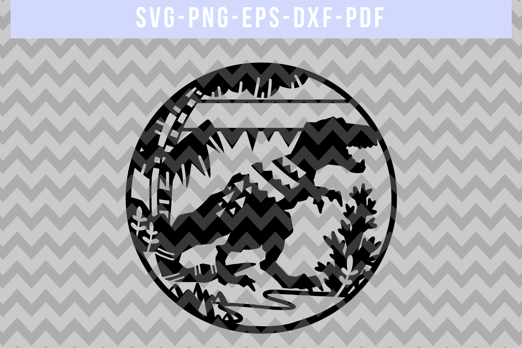Customizable Dinosaur Papercut Template, T-Rex SVG, DXF, PDF example image 5