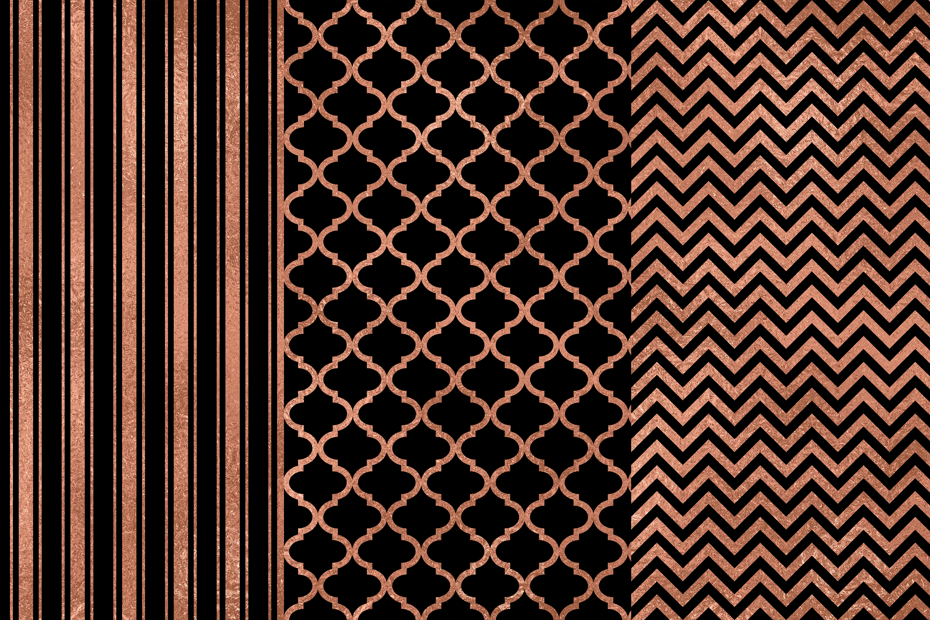 Black Rose Gold Digital Papers, Rose Gold Seamless Patterns example image 2