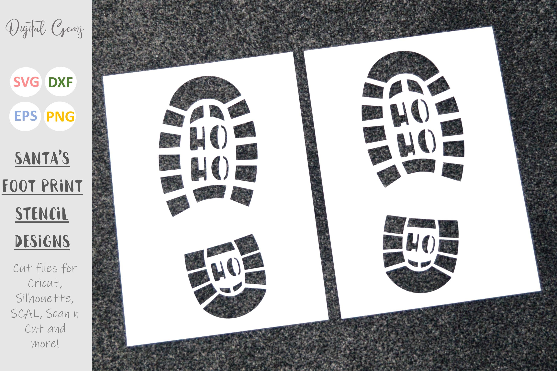 Santa foot print stencils. SVG / EPS / DXF / PNG Files example image 2