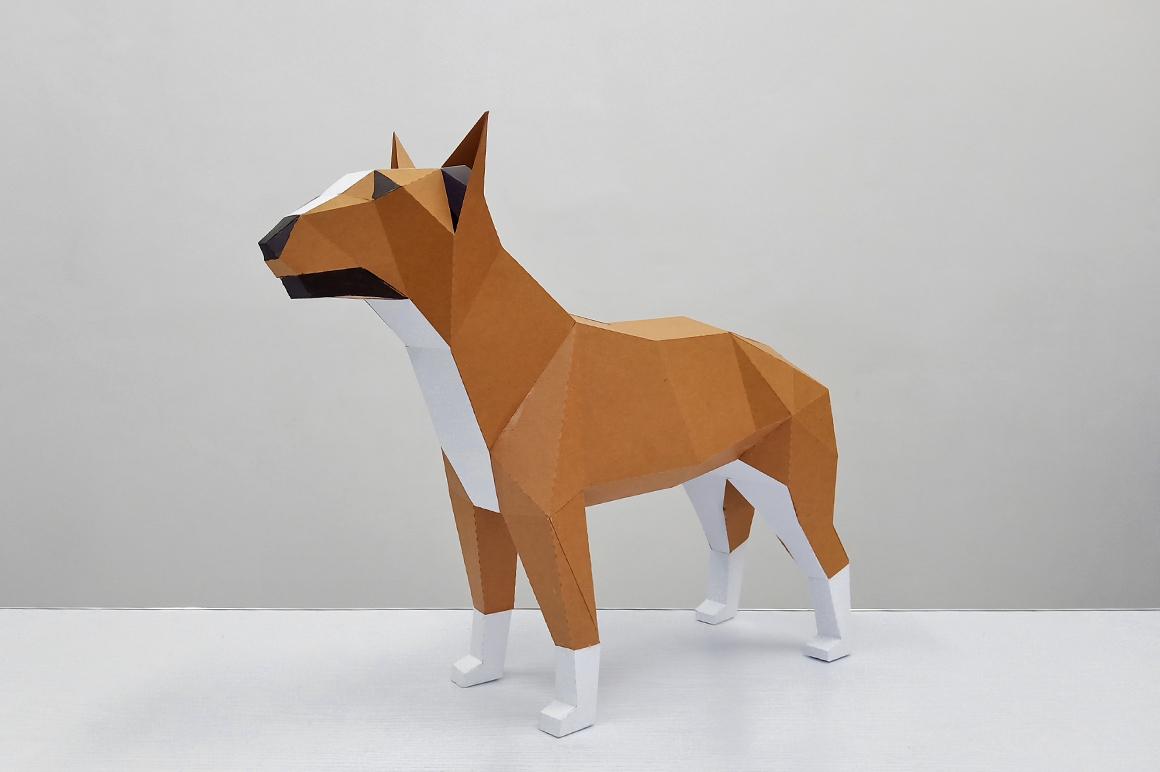 DIY Papercraft Bull Terrier model, papercraft dog sculpture example image 2