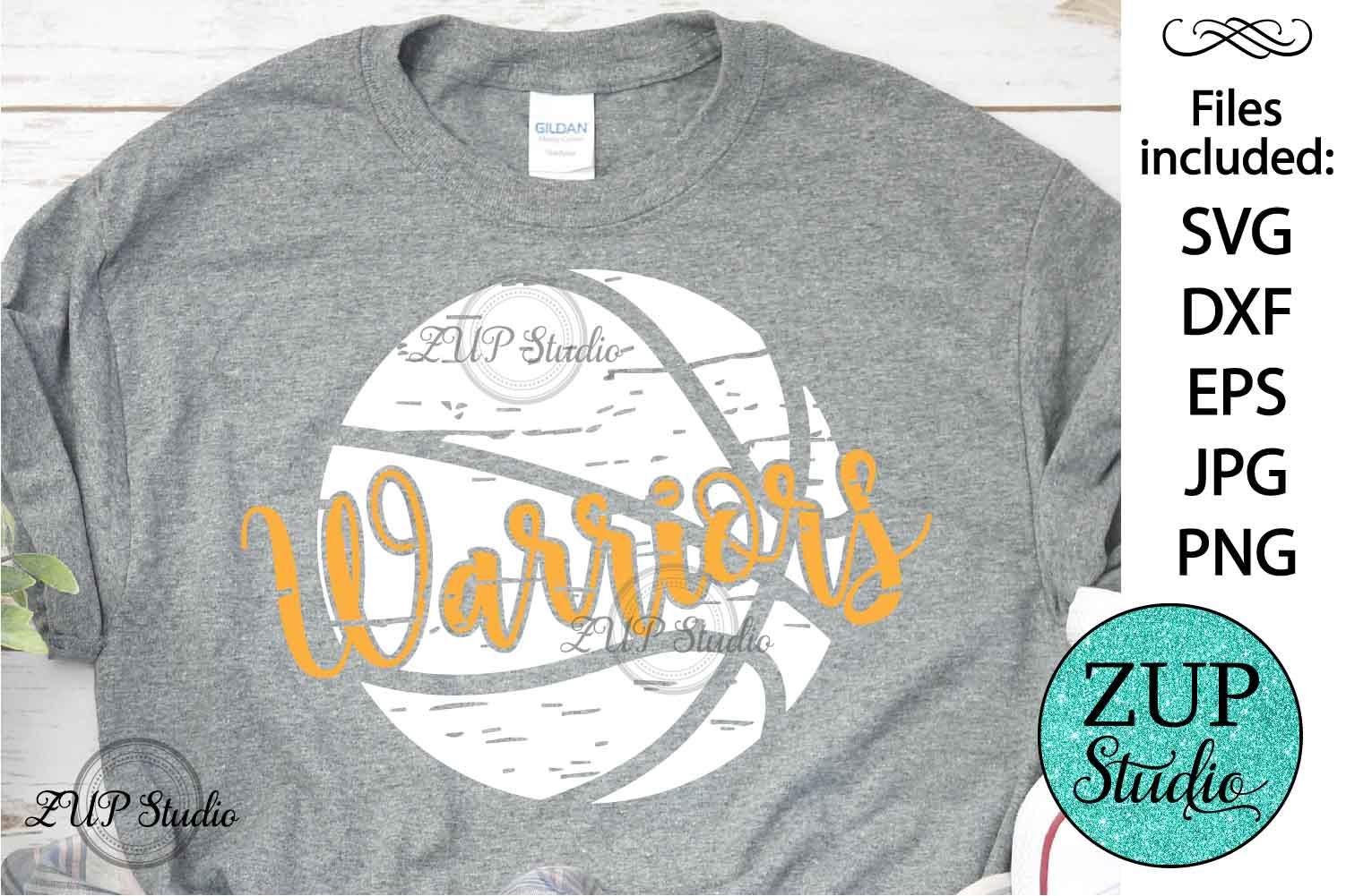 Grunge Warriors Basketball SVG Design Cutting Files 394 example image 1