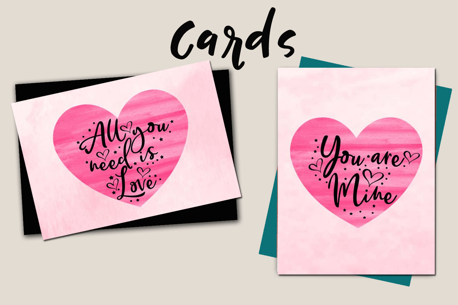 Valentines Day Cards-Posters-Tags-Heart Overlay Cliparts example image 5