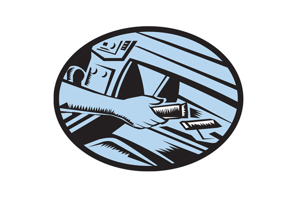 Hand Reaching in Glove Box for Energy Bar Oval Woodcut example image 1