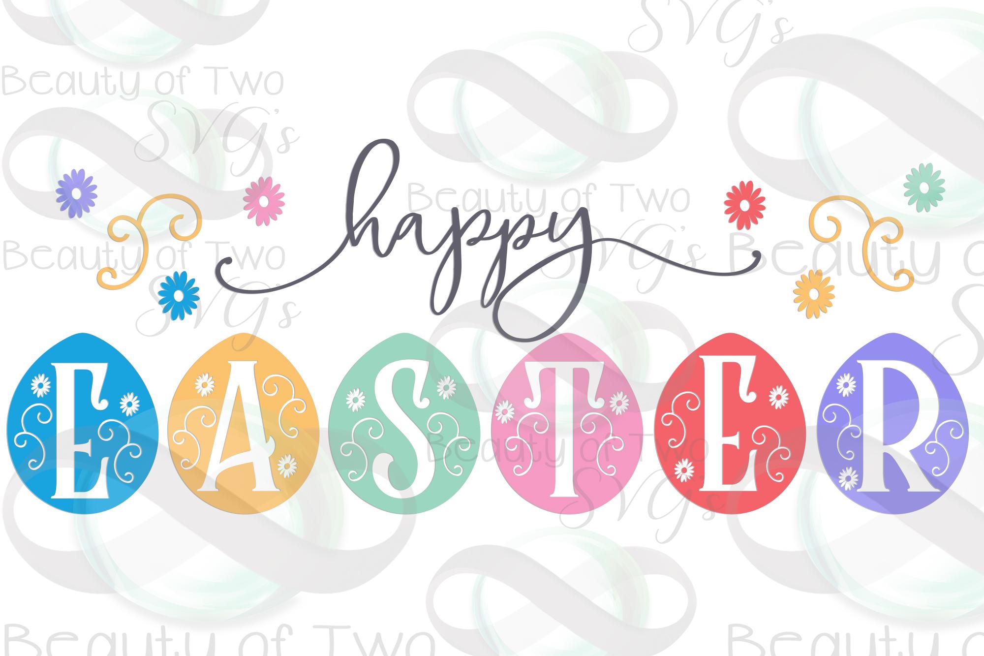 Happy Easter svg, Eggs svg, Farmhouse Easter svg, Easter svg example image 3