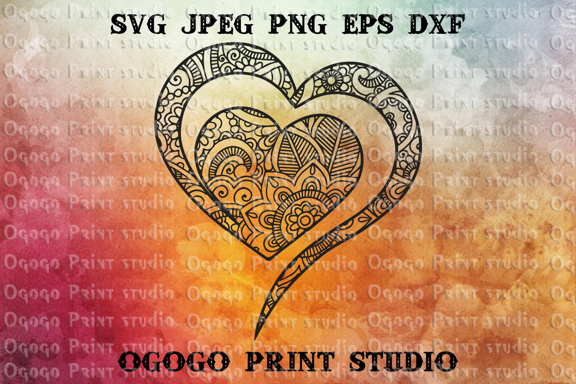 Heart SVG, Valentines day svg, Mandala svg, Zentangle SVG example image 1