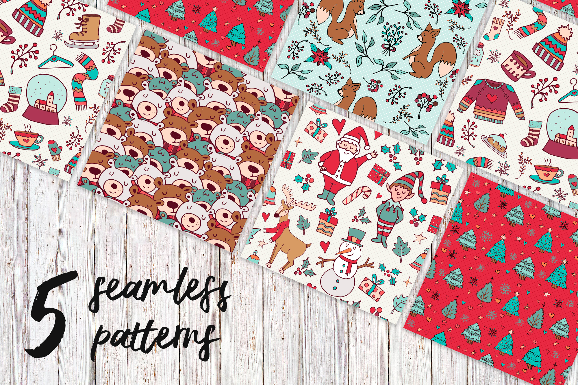 Sweet Christmas: hand drawn set with cute animals example image 3