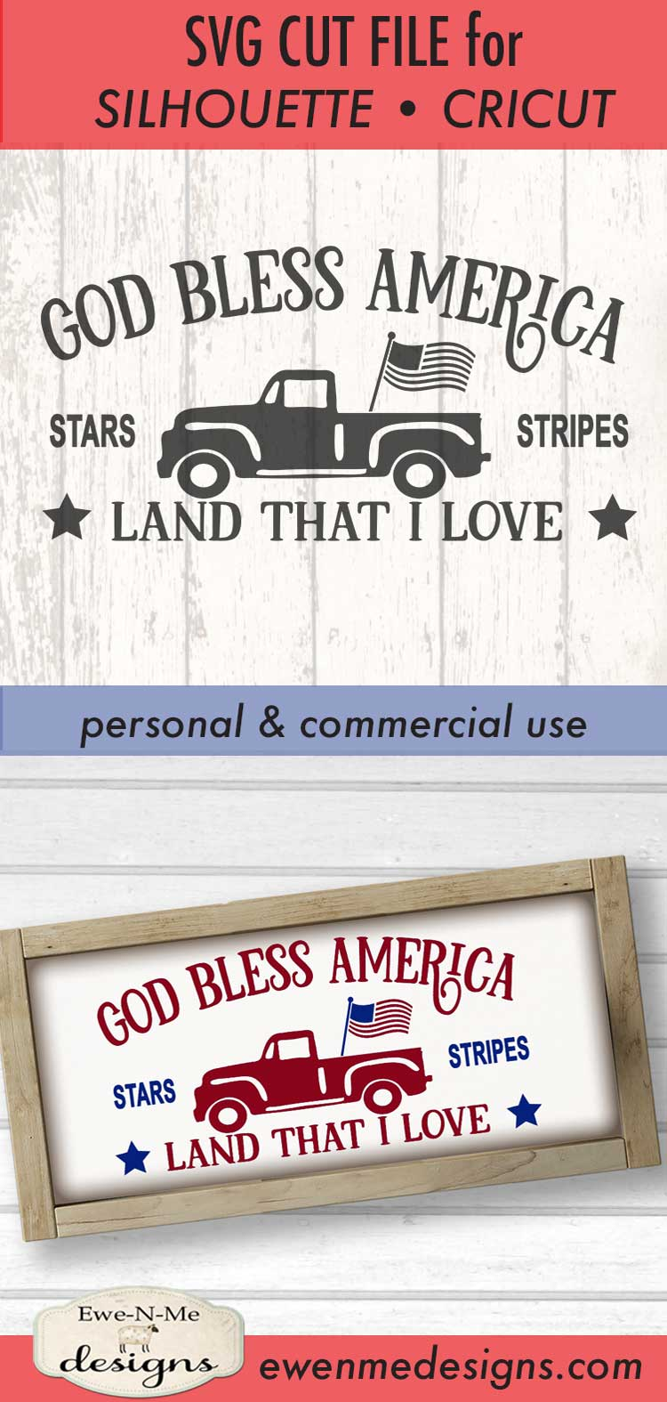 God Bless America Vintage Truck SVG DXF Files example image 3