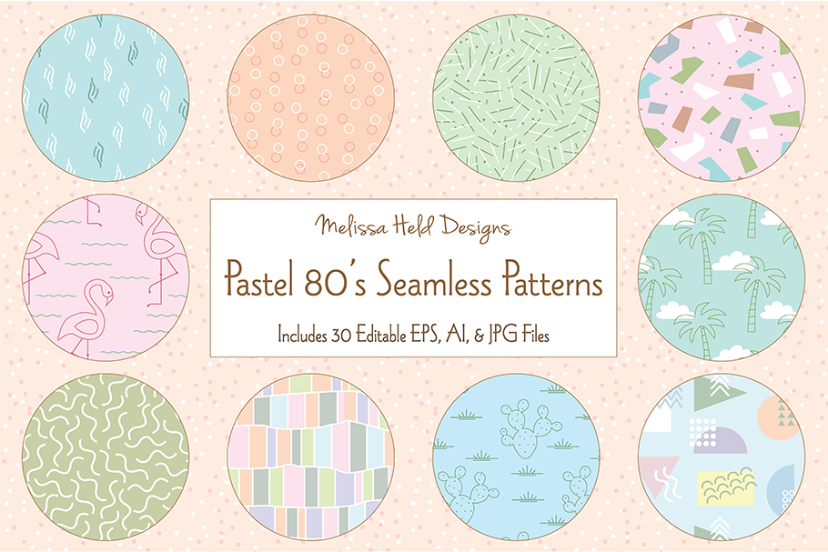 Pastel 80's Seamless Patterns example image 1
