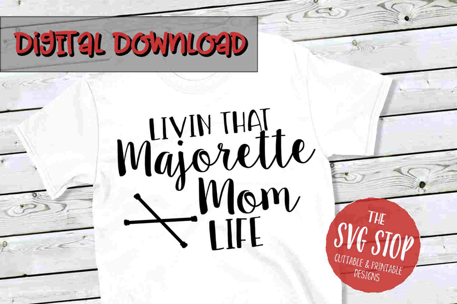 Majorette Mom-SVG, PNG, DXF example image 1