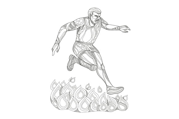 Obstacle Racer Jumping Fire Doodle Art example image 1