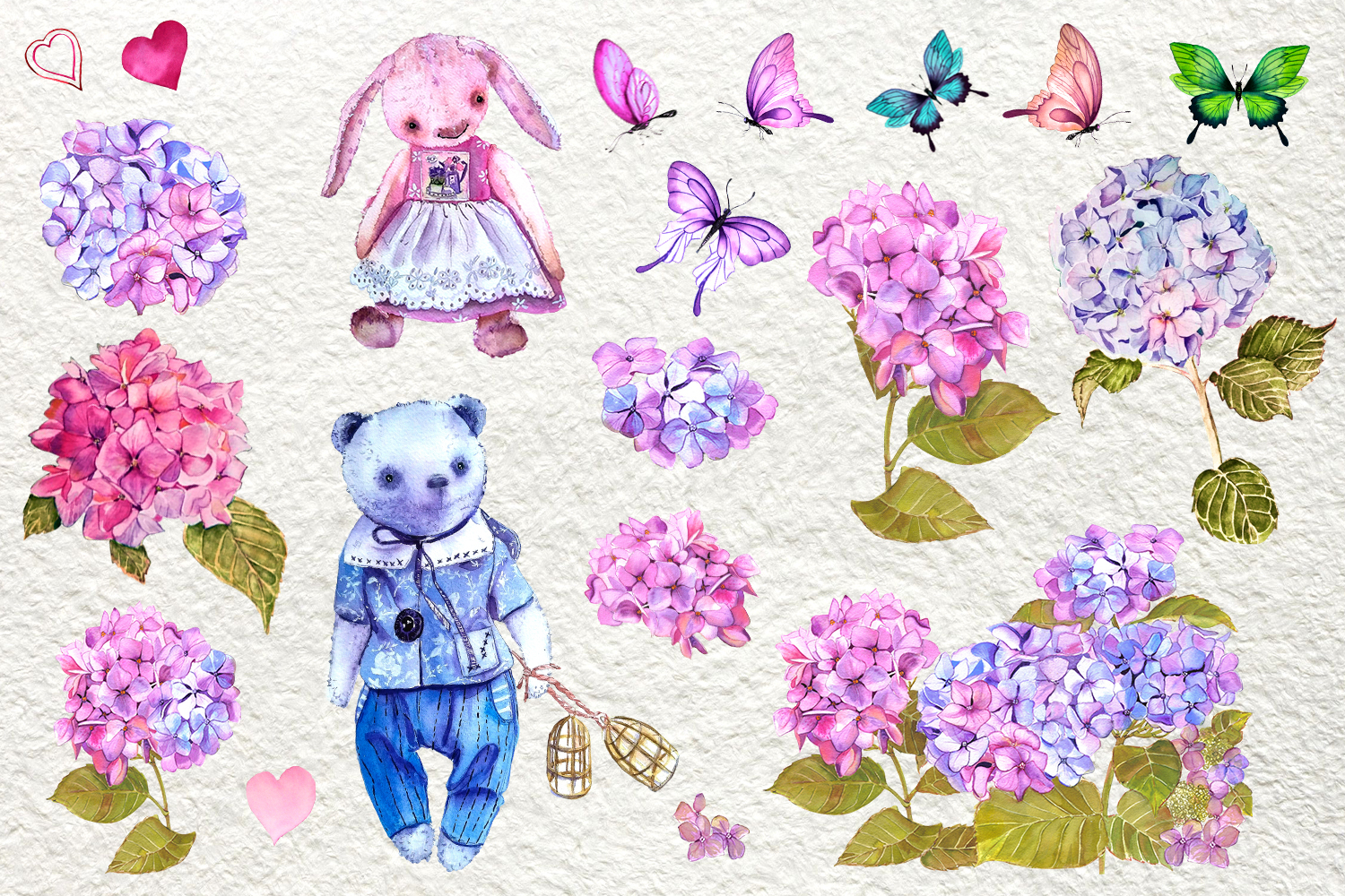 Watercolor clipart of hydrangea, butterflies and teddy toys example image 2