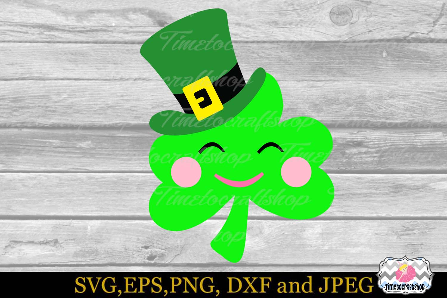 SVG, Dxf, Eps & Png St Patrick's Day Leprechaun hat Clover example image 2