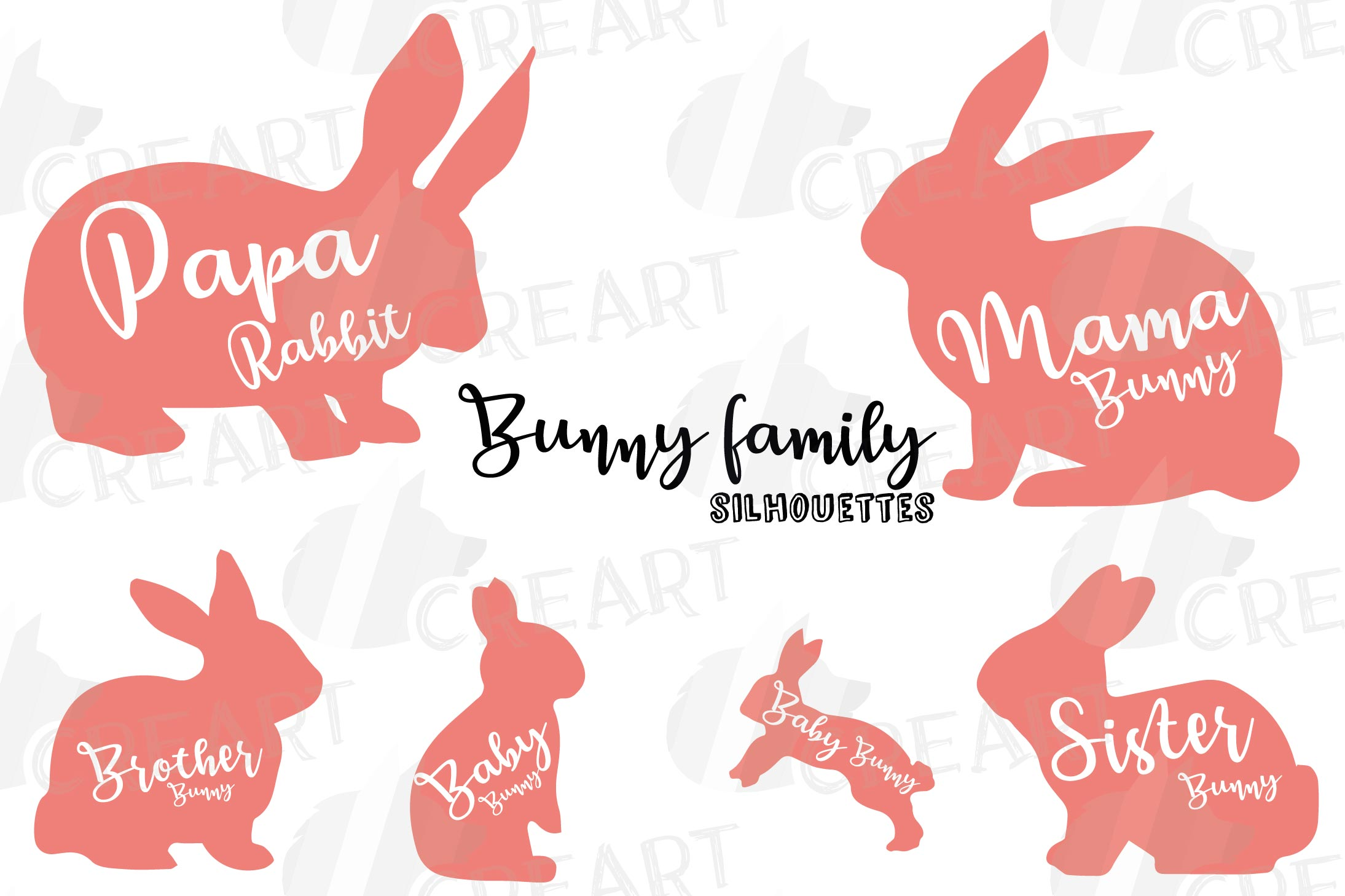 Rabbit family silhouettes, bunny silhouette svg cutting file example image 2