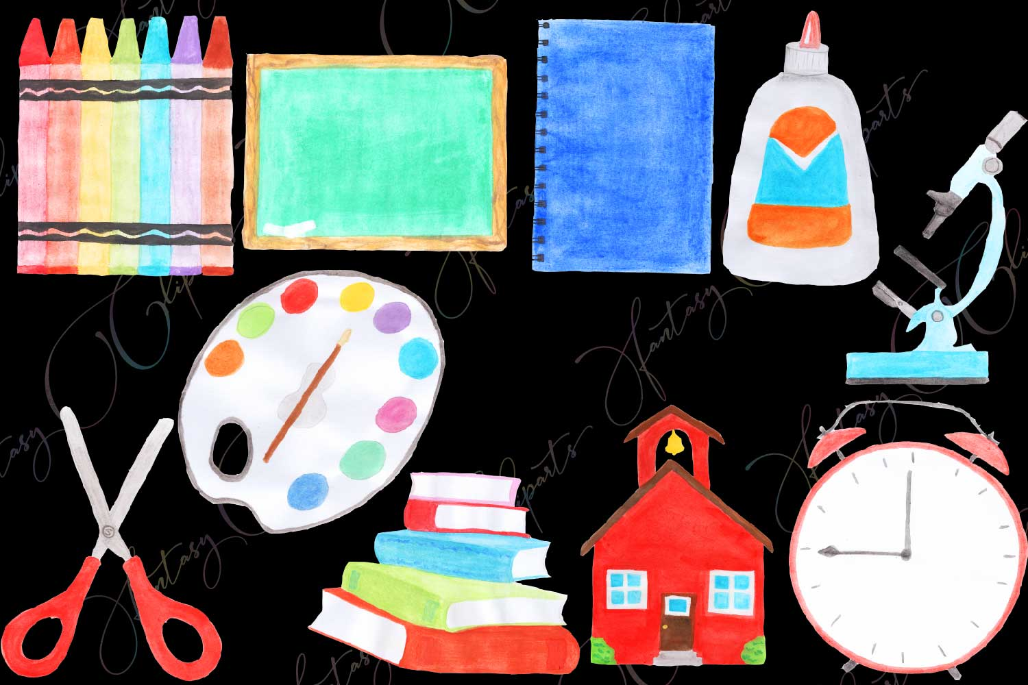 Watercolor Hand Drawn Back To School Clipart example image 3