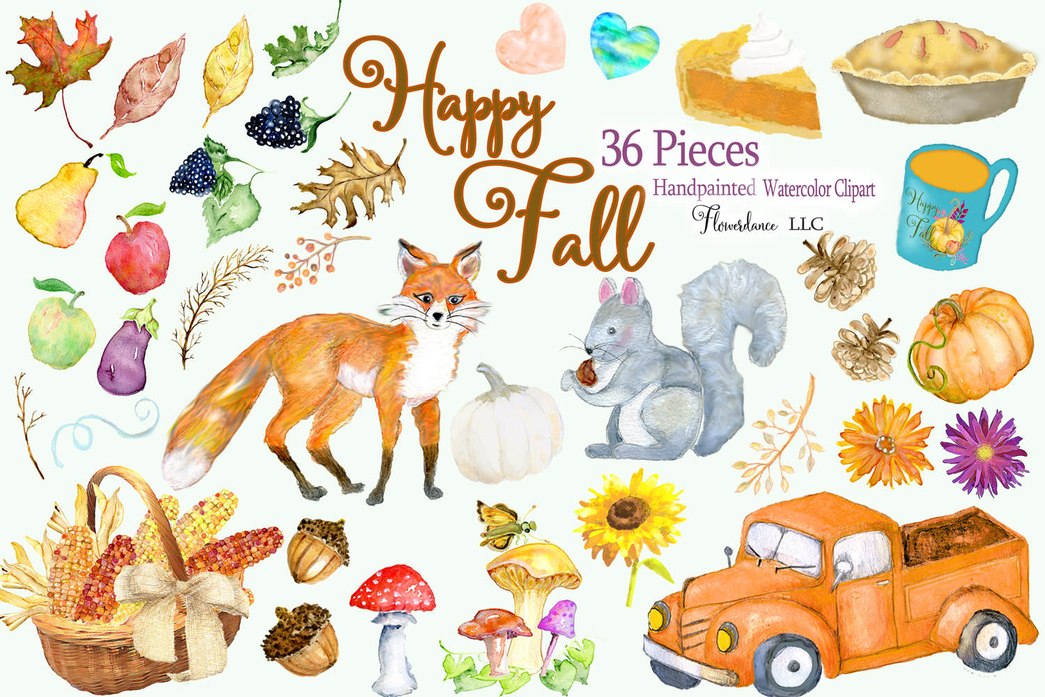 Watercolor Fall Clipart - Autumn Clipart - Transparent PNG example image 2