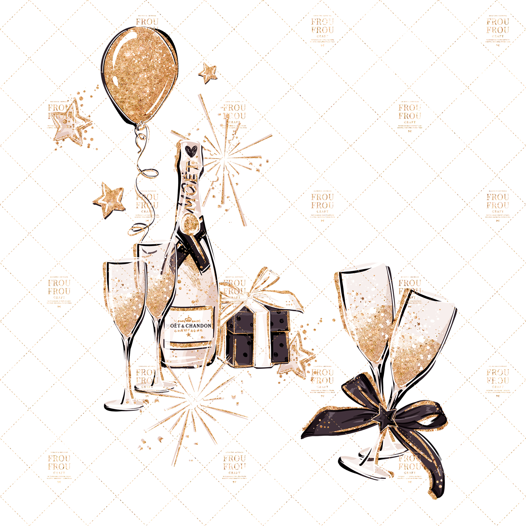 Fashion Girl New Year Party Gold Glitter Clip Art example image 3
