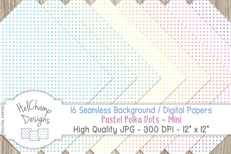 16 seamless Digital Papers - Pastel Polka Dots Mini - HC008 example image 5
