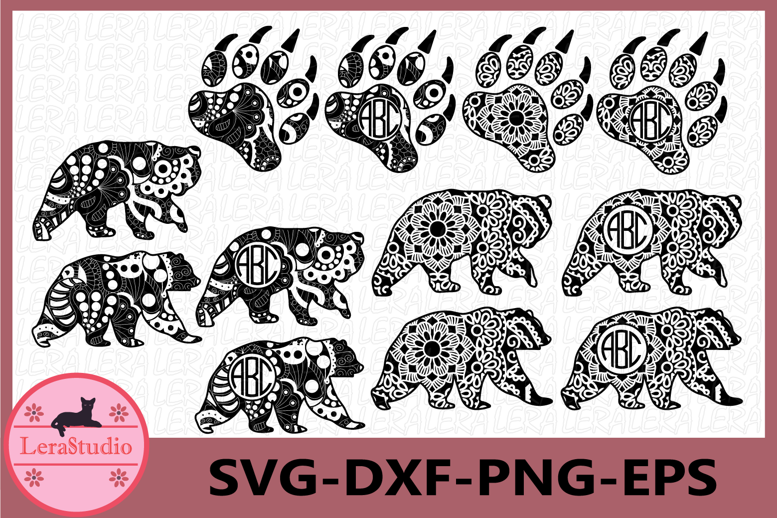 Bear Zentangle SVG, Bear Mandala, Animals Svg, Vector example image 1