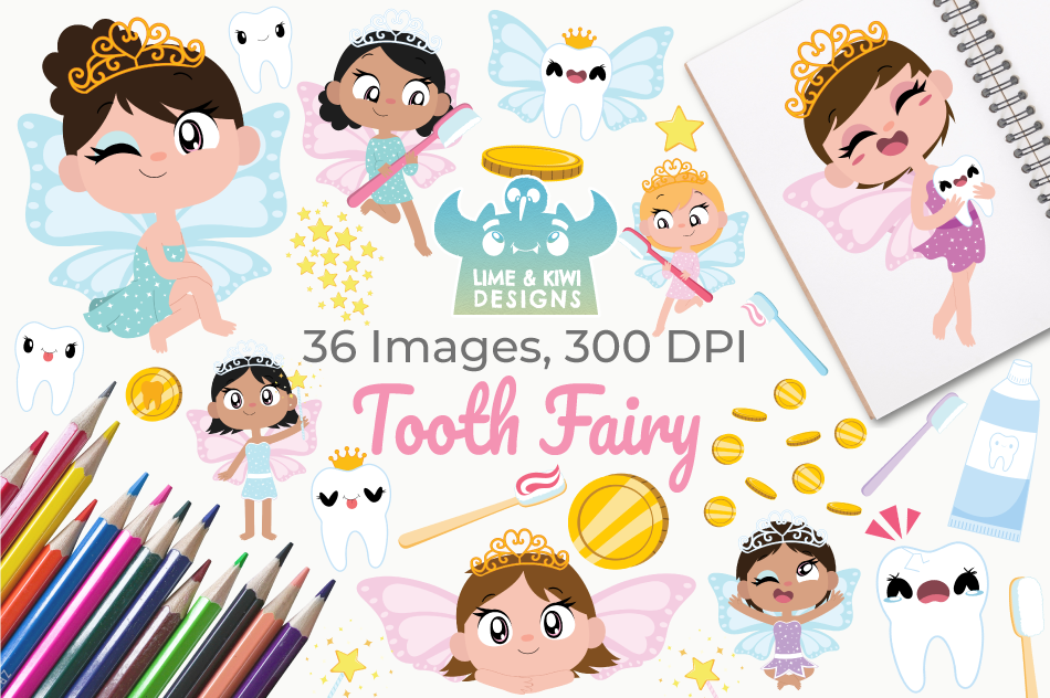 Tooth Fairy Clipart, Instant Download Vector Art example image 1