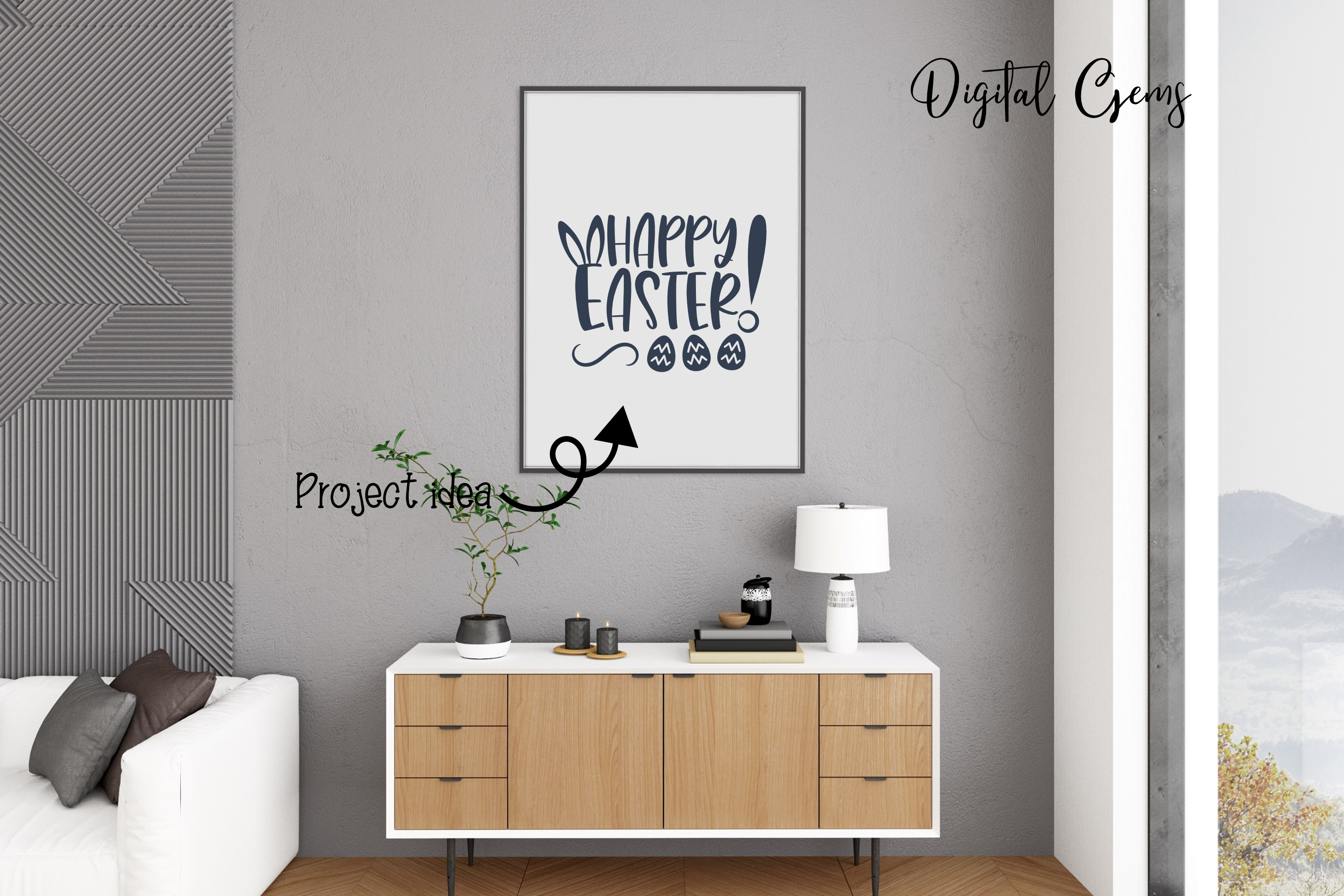 Happy Easter SVG / DXF / EPS / PNG files example image 9