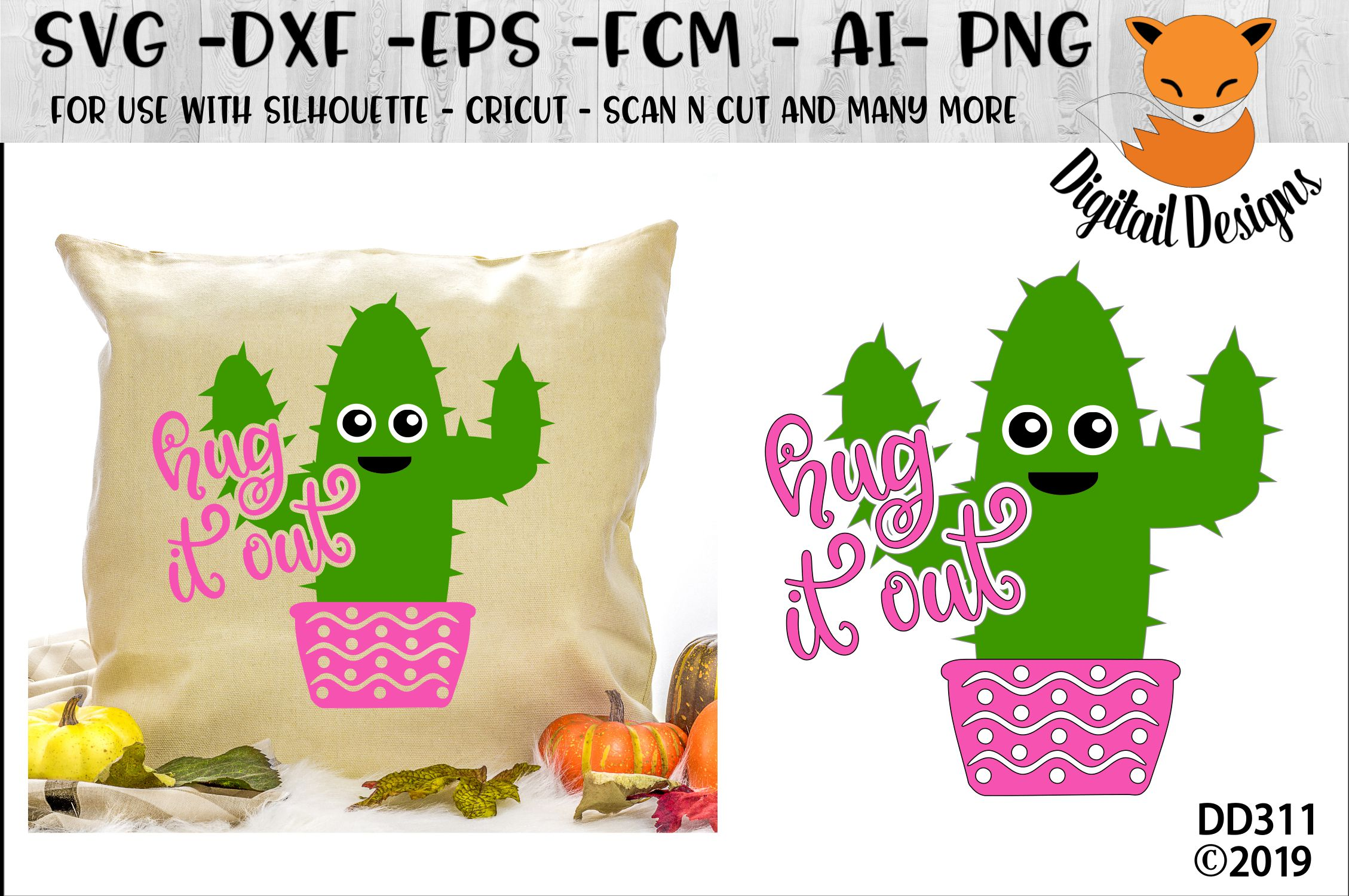 Cactus Hug It Out Valentine SVG example image 1