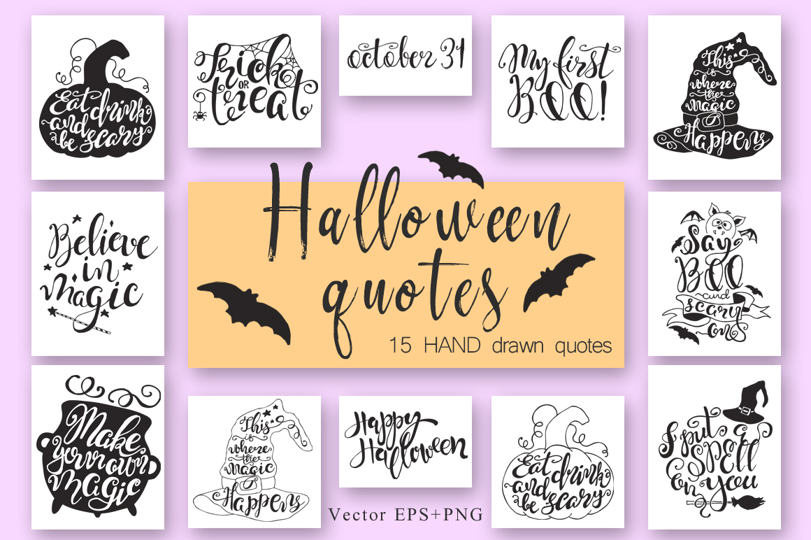 Halloween hand drawn Quotes SVG Cut files example image 7