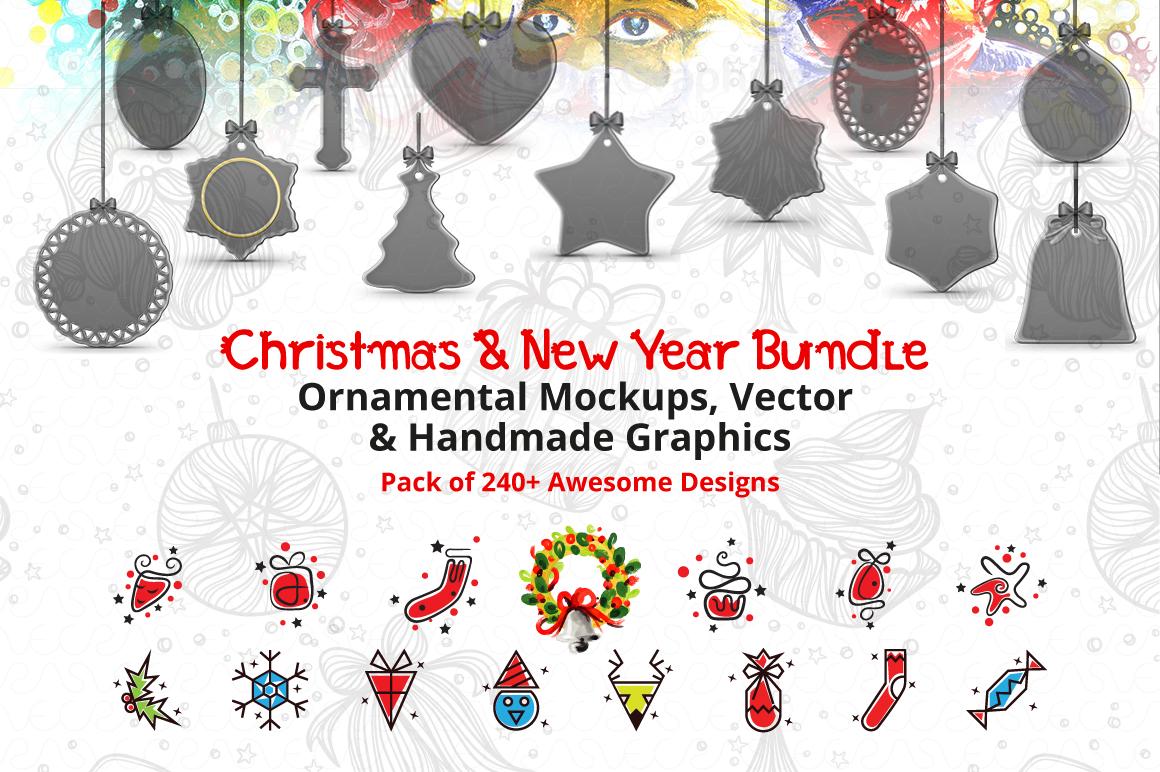 Christmas & New Year Bundle of Ornamental Mockups & Graphics example image 1