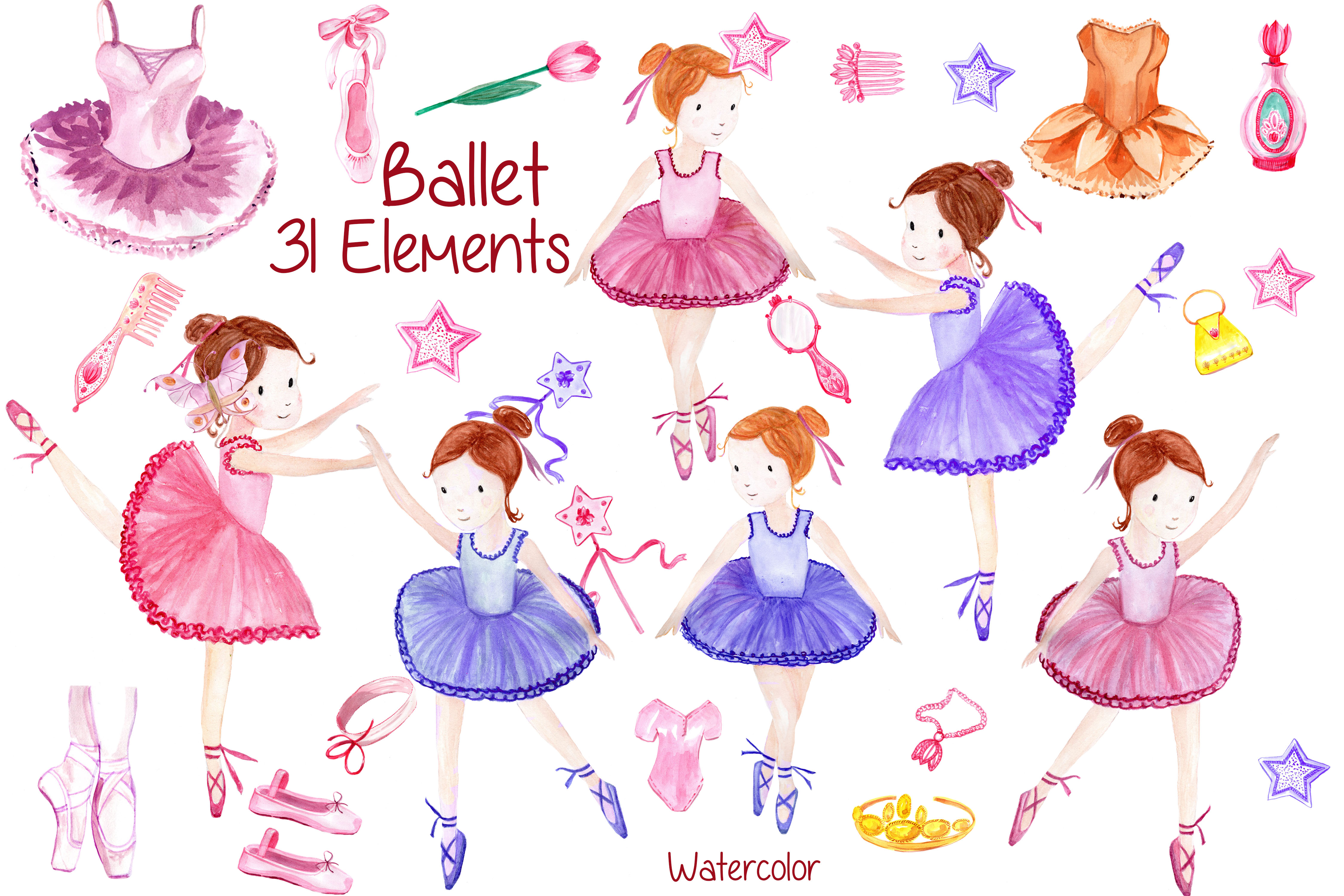 Watercolor ballerina clipart example image 1