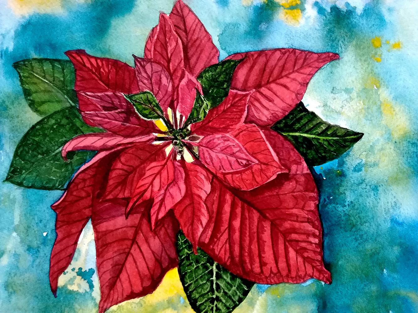 Poinsettia Watercolor Clip Art example image 8