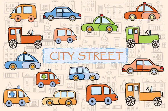 Toys vector buildings and cars example image 1