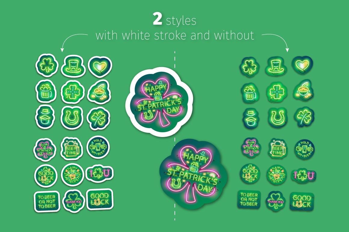 Neon St Patricks Day Sticker Pack example image 6