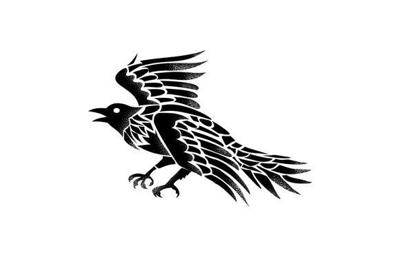 Raven Flying Side Tattoo example image 1