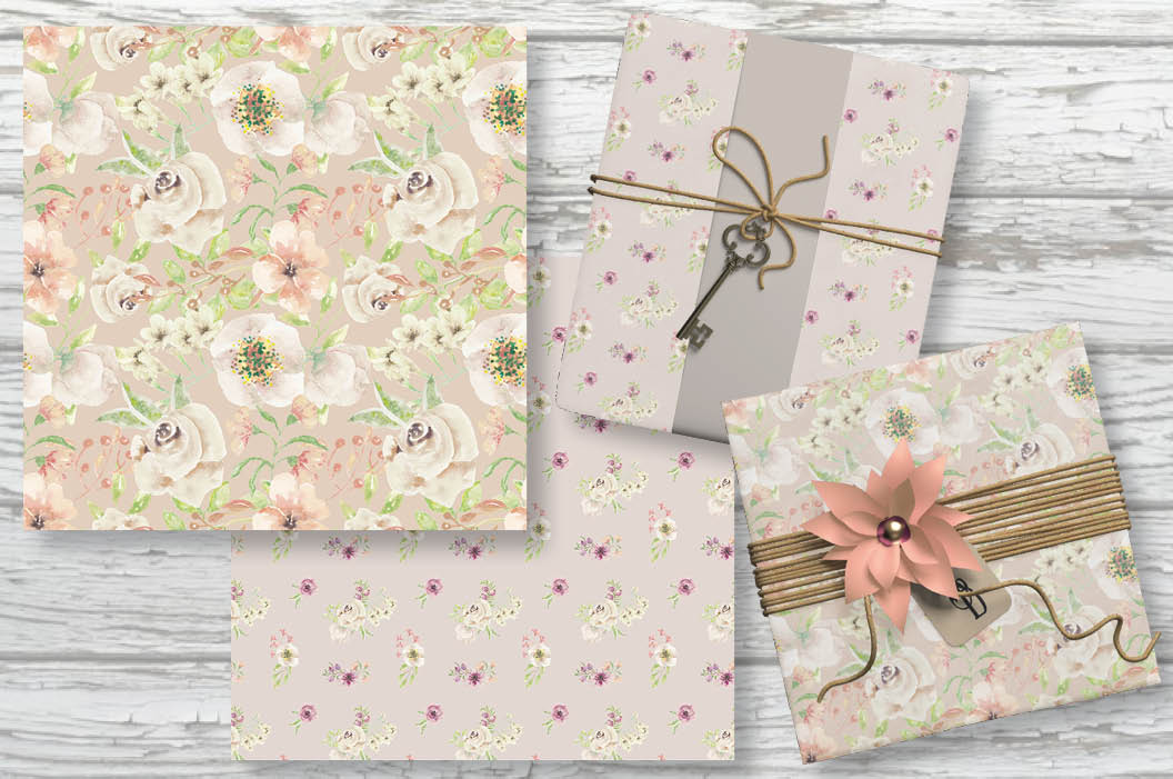 Set of 6 watercolor patterns in blush tones example image 2