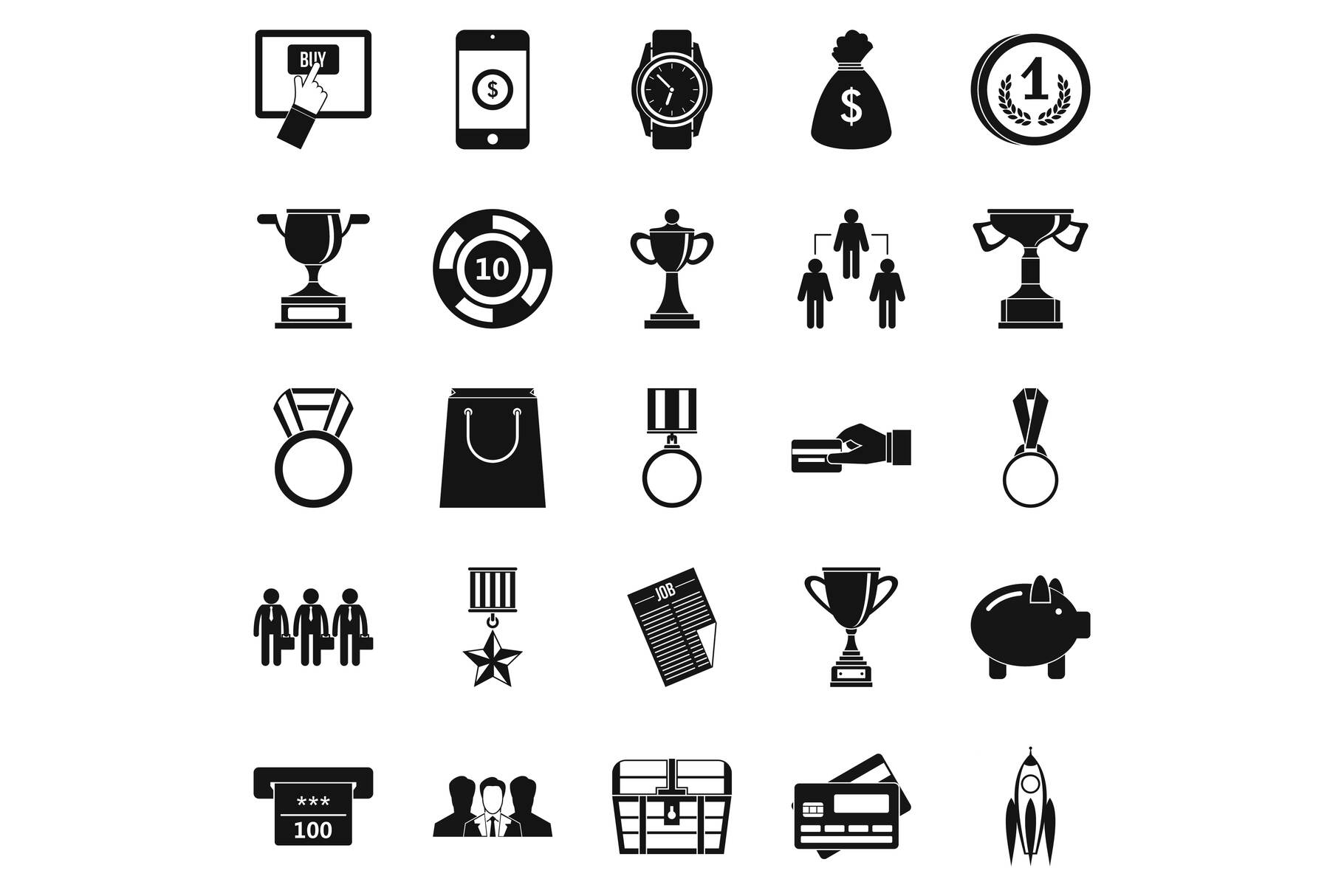 Cash transfer icons set, simple style example image 1