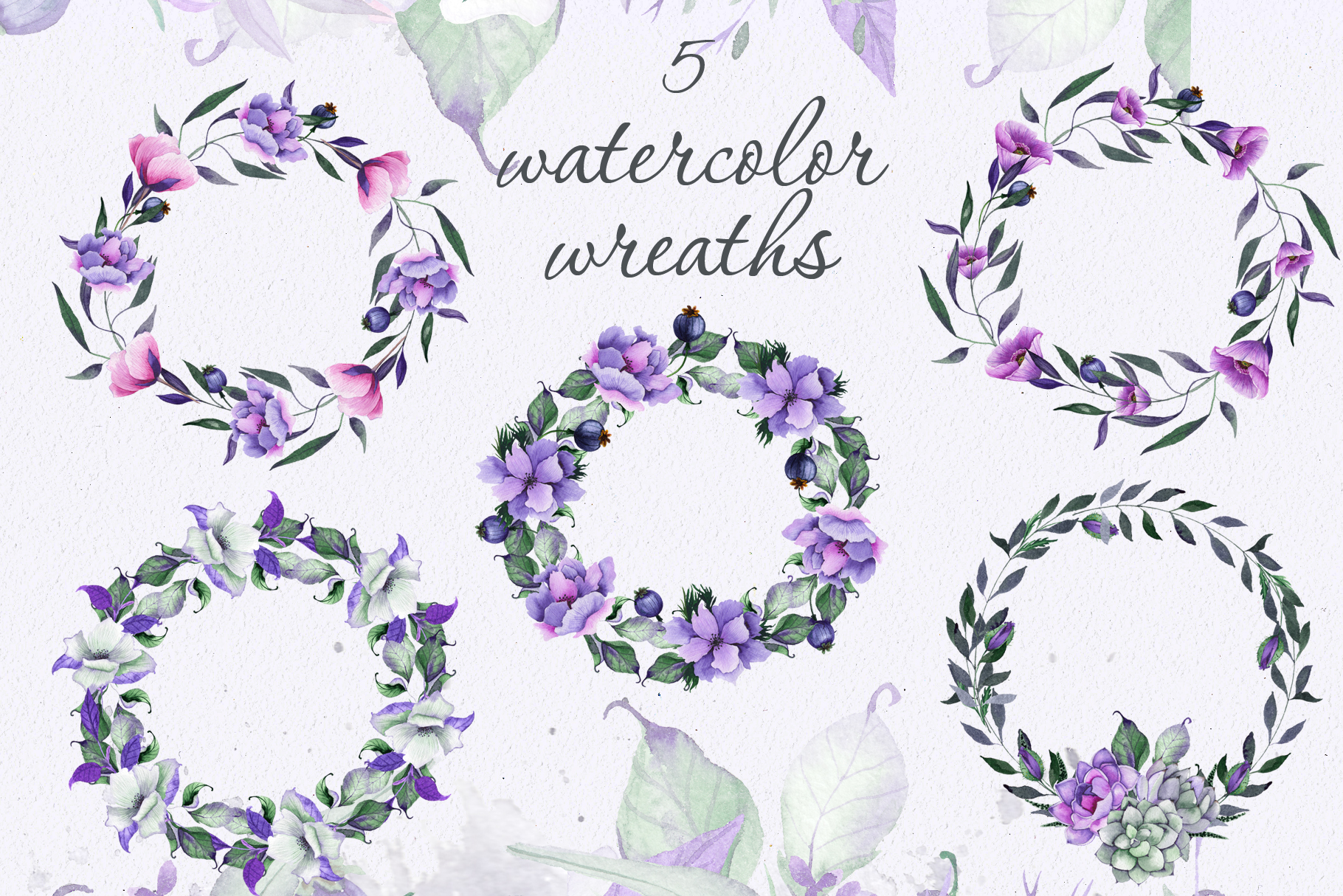 Floral purple green wedding collection example image 2
