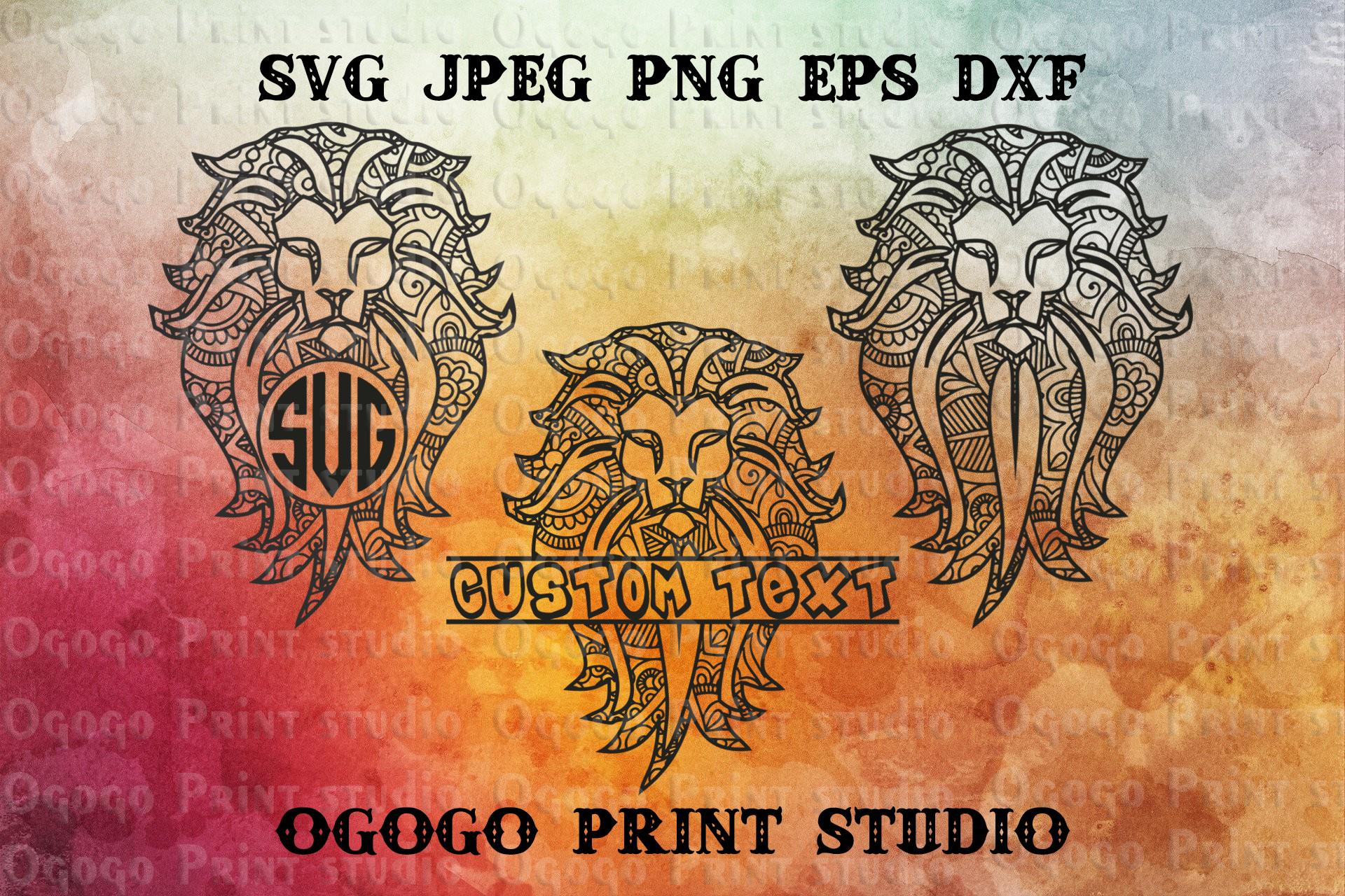 Mandala style Lion SVG, Zentangle SVG, Animal svg, King svg example image 1