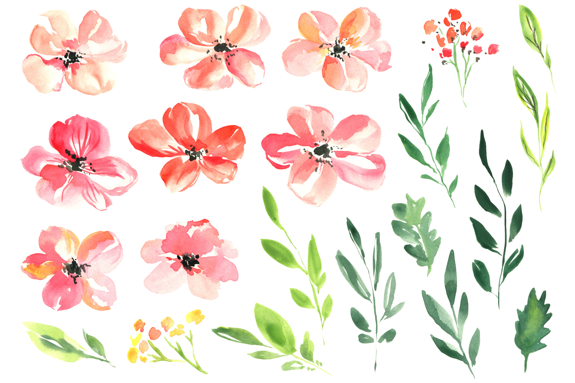 Fresh pink watercolor flowers set example image 2