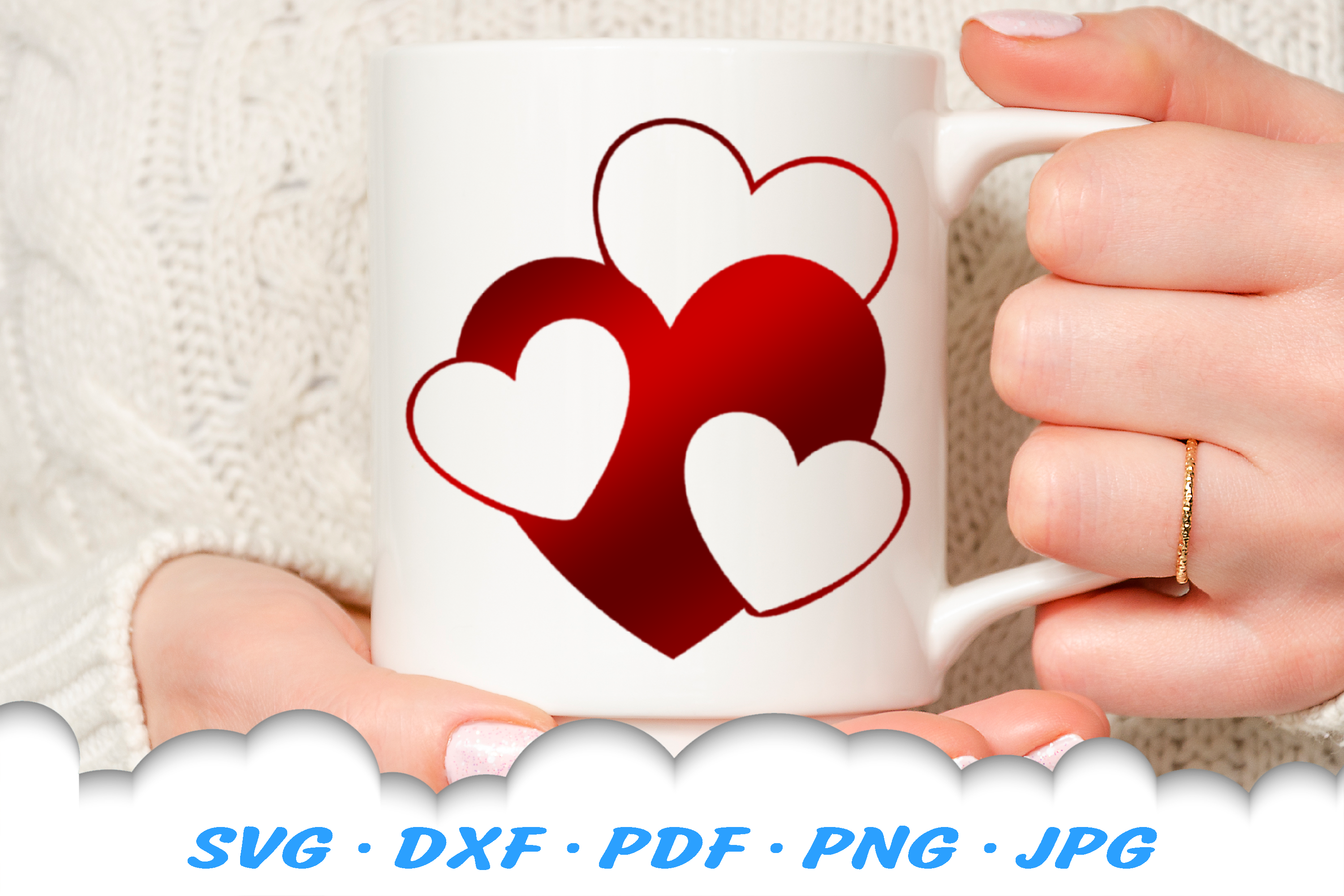 Valentines Hearts SVG DXF Cut Files Bundle example image 4