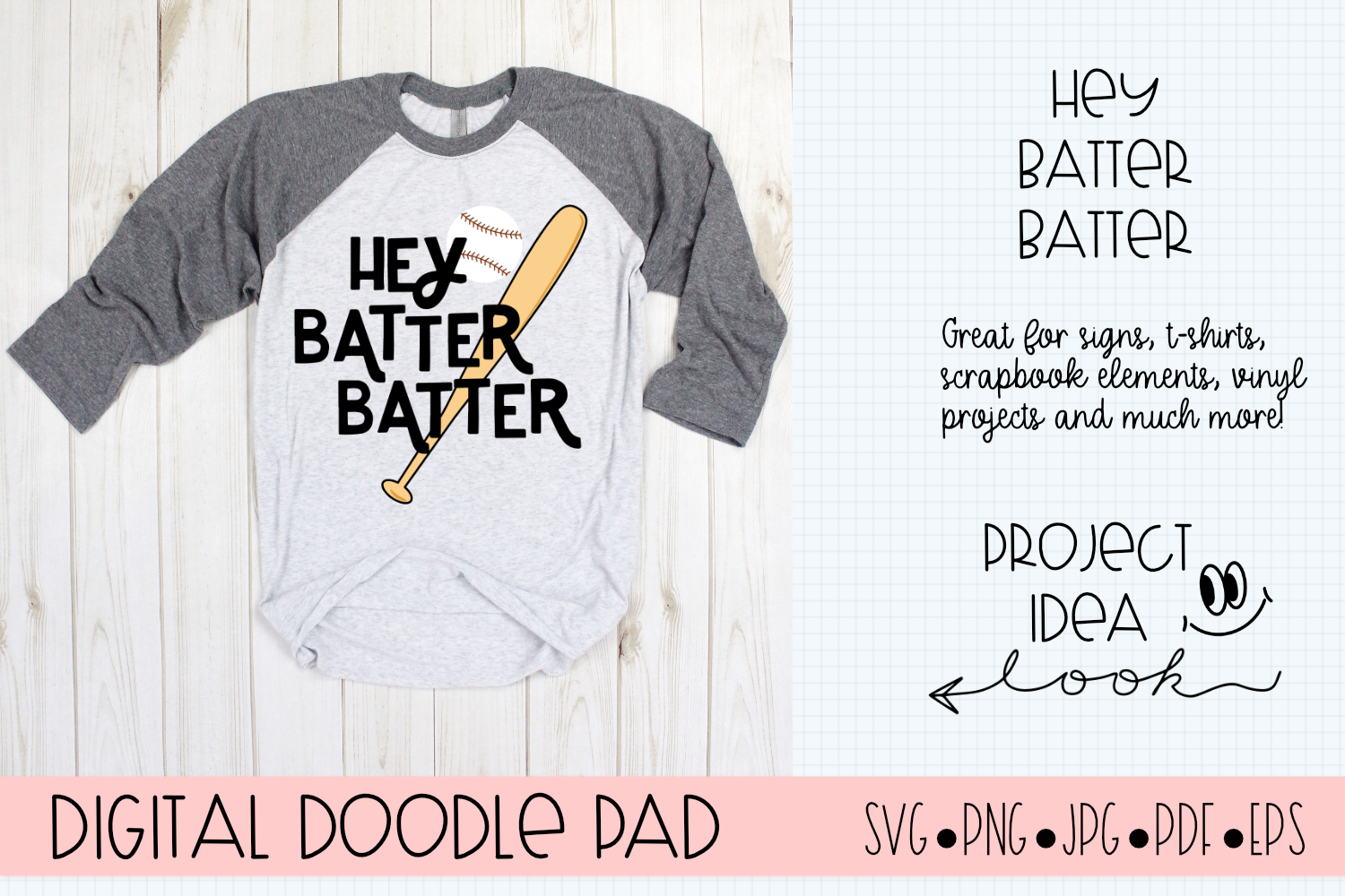 Baseball SVG | Hey Batter | Silhouette and Cricut Cut Files example image 1