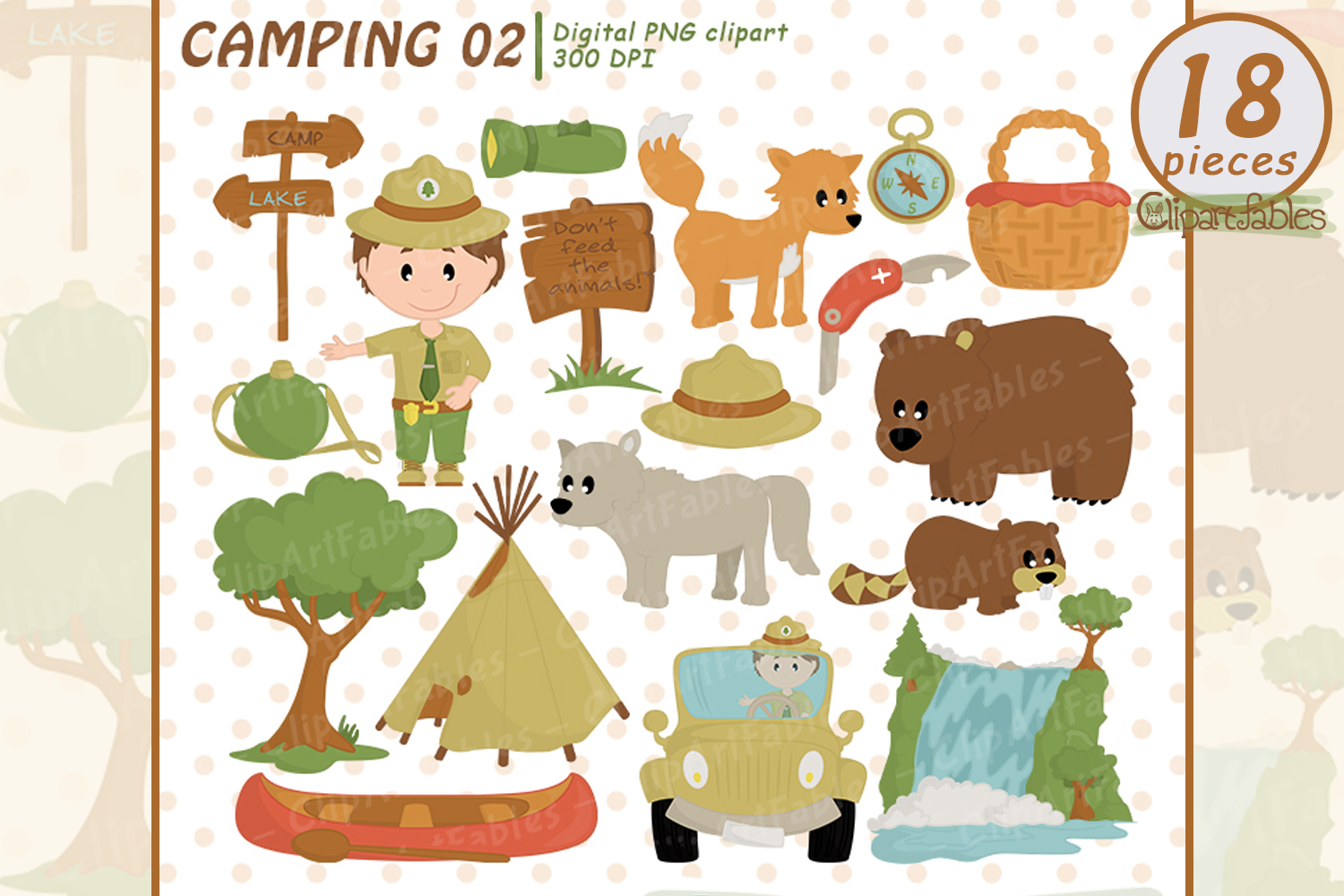 RANGER clipart, Wild life, Cute outdoor clipart, Camping art example image 1