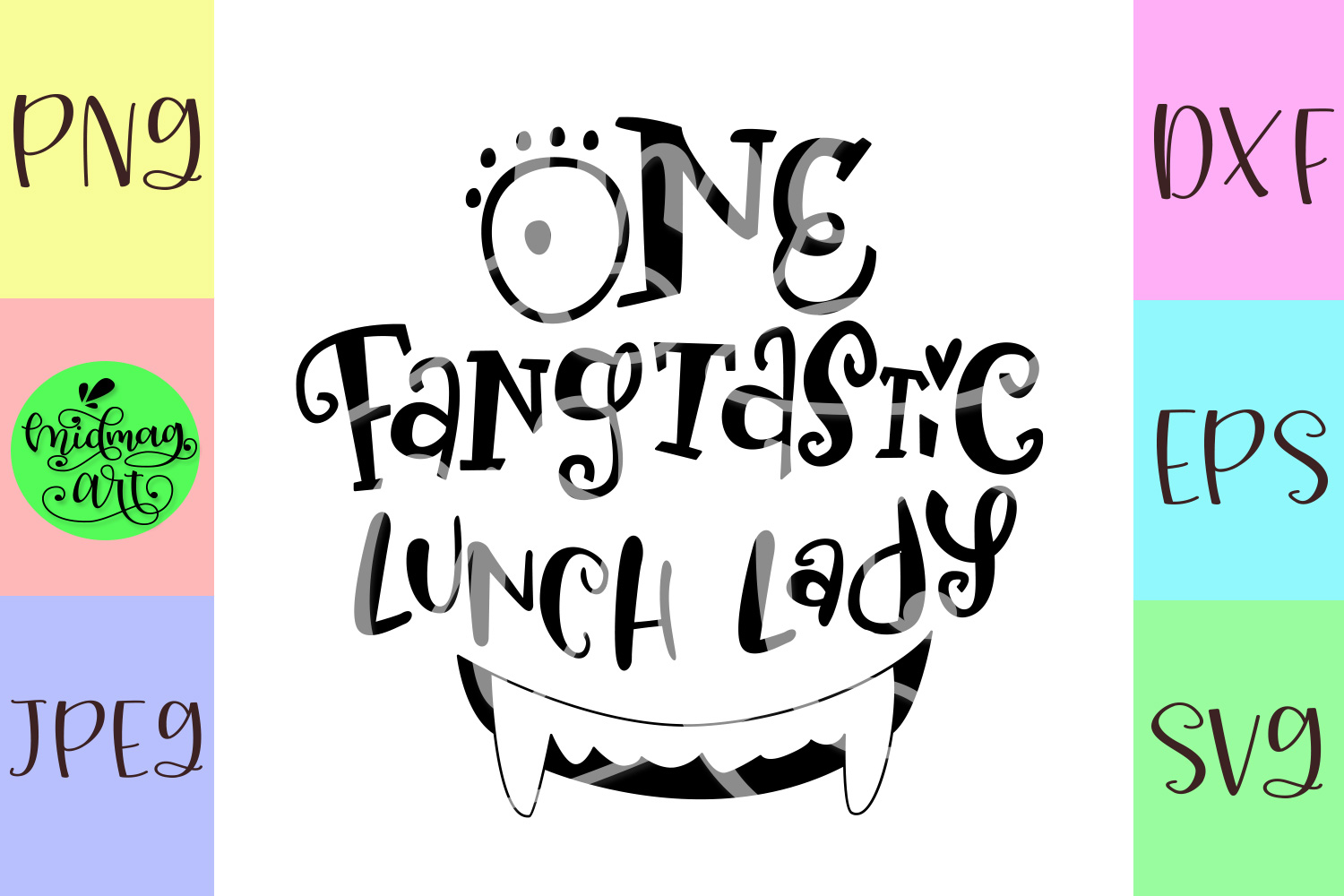 One fangtastic lunch lady svg, lunch lady halloween svg example image 2
